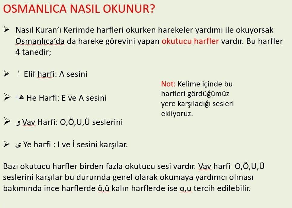 Osmanlıca nasıl okunur